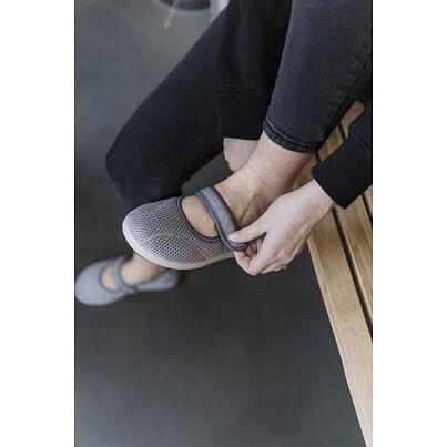 Ladies comfortable orthopedic Ballerinas with velcro - Silver Gray