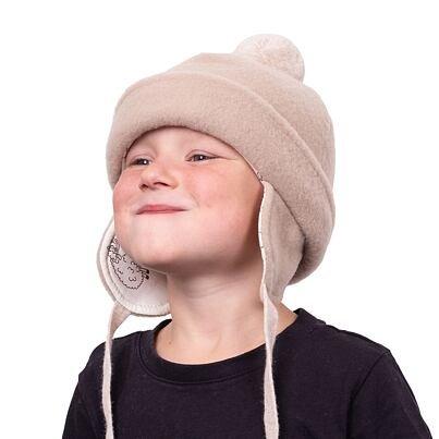 Gyermek sapka pomponnal - bézs