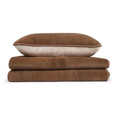 Gyapjú ágynemű szett lepedővel - barna