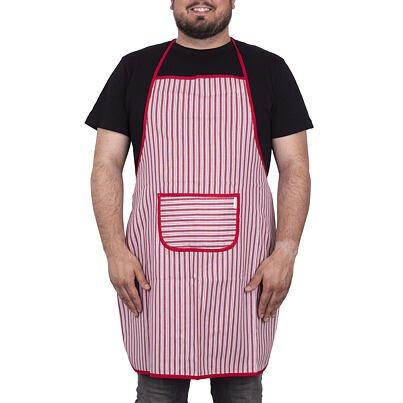 Kuchynská zástera prúžok červená