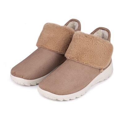 Dámske členkové zimné topánky s ovčou vlnou Bára svetlo hnedá