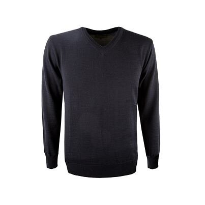 Pulover tricotat pentru bărbați Merino Kama 4104 - Negru