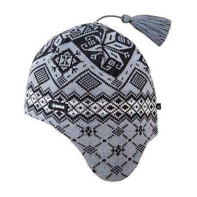 Căciulă tricotată cu clape peste urechi Merino Kama A74 - Gri deschis