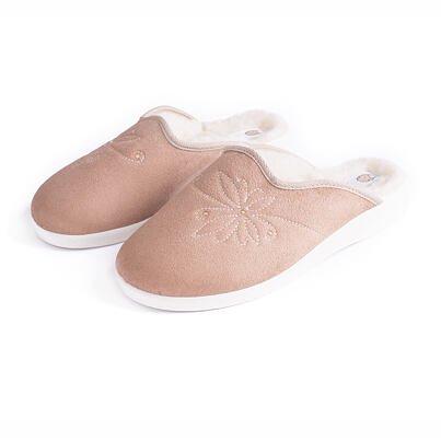 Női komfort papucs birka gyapjúval - bézs