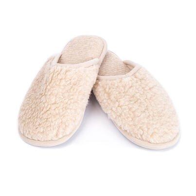 Papuci de casă din lână naturali