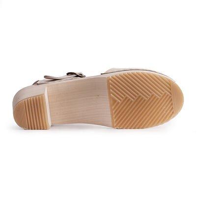 Dámské dřeváky na podpatku béžová