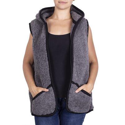 Wool vest with hood - Dark Gray