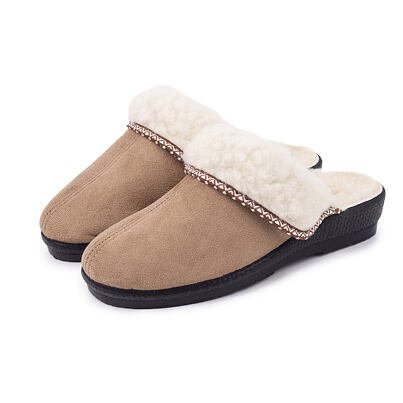 Women's wedge slippers with sheep wool - Brown
