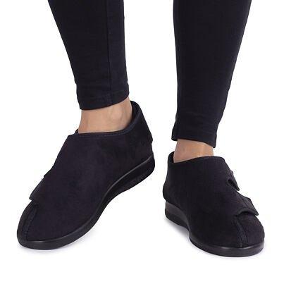 Zdravotná obväzová obuv uzatvorená soširokým otváraním Čierna
