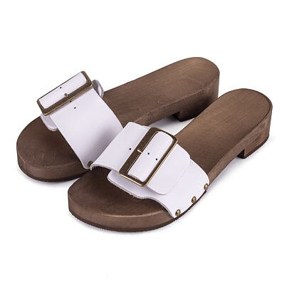 Women's low-heel clogs -  White