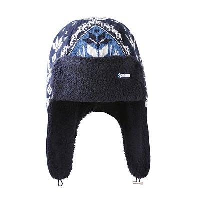 KNITTED MERINO CAP KAMA A145 - Dark Blue / Navy