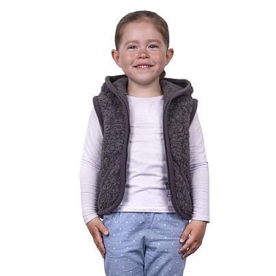 Gyerek mellény birka gyapjúból kapucnival - sötétszürke