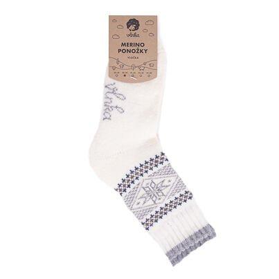 "Merinó birka gyapjú zokni ""pehely""  Fehér"