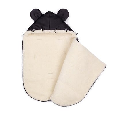 Detský fusak s ovčou vlnou a kožušinou čierna