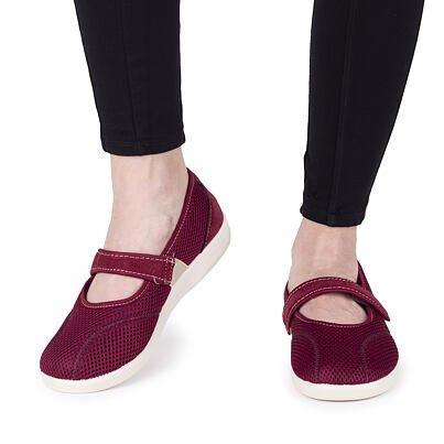 Women's comfort velcro ballerinas -  Red