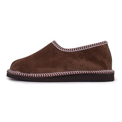 """Leather slippers shoes with sheep wool """"Chalets"""" -  Brown"""