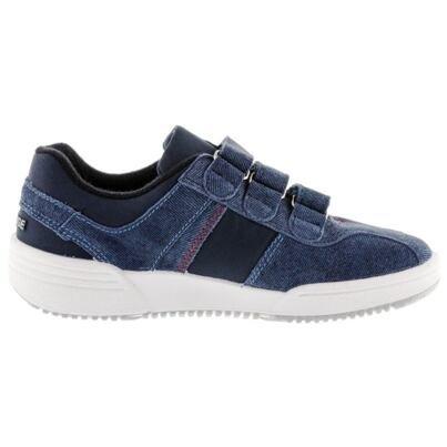 Leather velcro sneakers PRESTIGE - Denim
