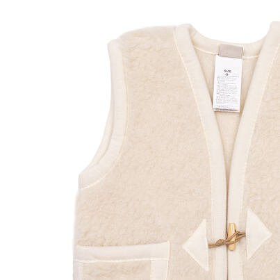 Children's sheep wool vest with buttons -  Natural