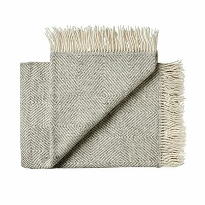 Wool throw blanket diamond - Gray
