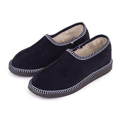 """Papuci din piele cu lâna de oaie """"sălășene"""" - albastru închis"""