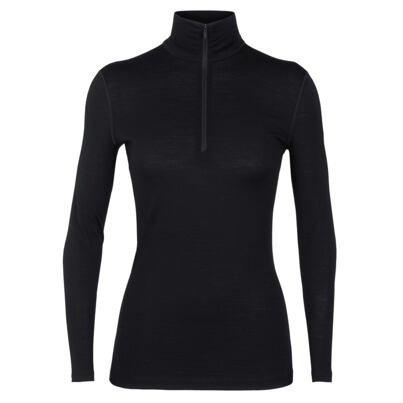 Dámské funkční triko zip merino 200 Oasis Icebreaker černá