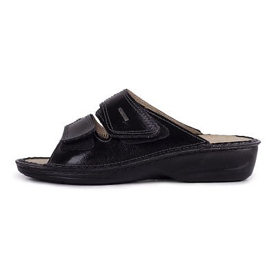 """Women's anatomical leather slippers for bunions """"Eva"""" -  Black"""