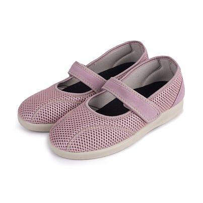 Women's comfort velcro ballerinas -  Pink