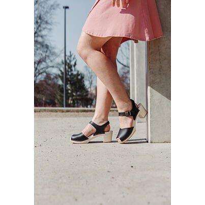 Women's high-heel clogs -  Black