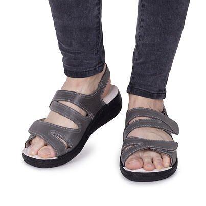 Sandale anatomice din piele pentru femei Hana - gri