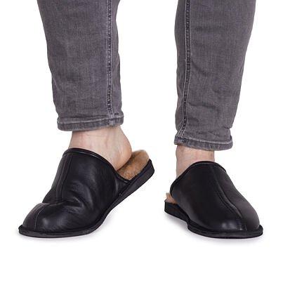 Papuci din piele cu lână de oaie pentru bărbați Richard - negru