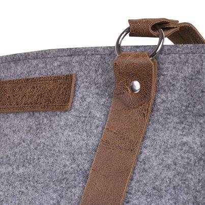Filcová kabelka s koženými uchy šedá