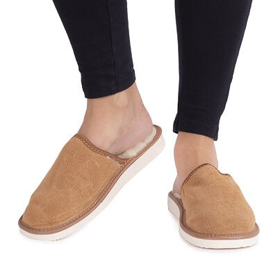 Dámské kožené pantofle s ovčí vlnou