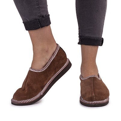 Kožené papuče s ovčou vlnou salašky  hnedá