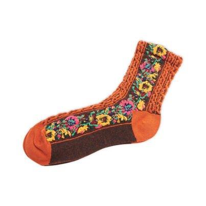 "Cotton socks ""Folklore"" -  Orange"