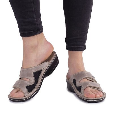 """Women's anatomical leather slippers for bunions """"Eva"""" -  Beige"""