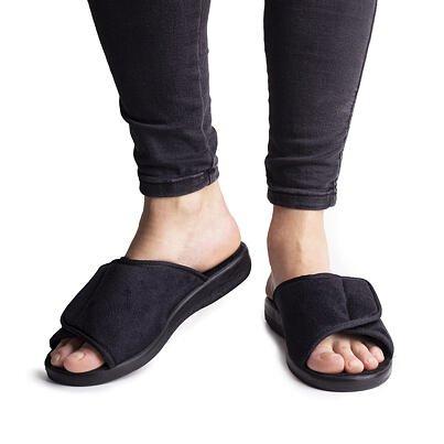 Women's velcro slippers -  Black