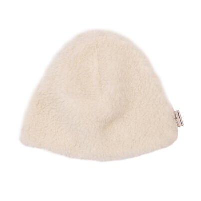 Sheep wool hat with lining -  Natural