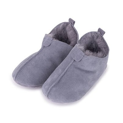 """Children's leather slippers with sheep wool """"Andy"""" -  Gray"""