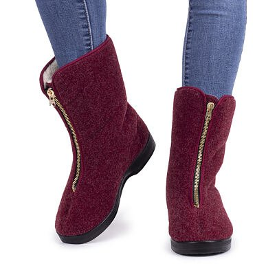 Women's zippered wool boots for seniors - Red