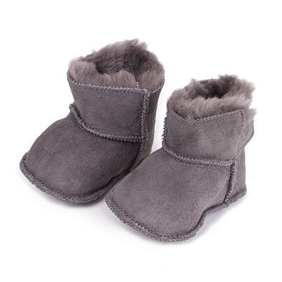 Baby booties with lamb's wool - Gray