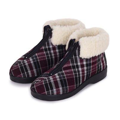 Dámske členkové papuče s ovčou vlnou na zips Oľga káro