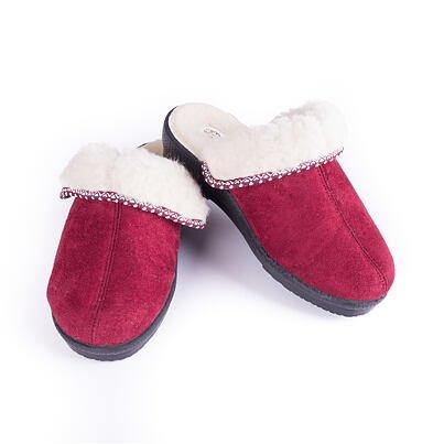 Női telitalpú papucs birka gyapjúval - piros