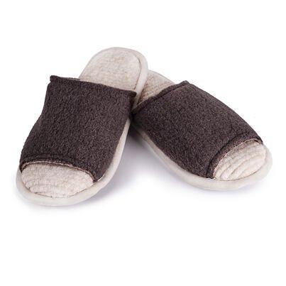 Păpuci din lână deschiși - Maro