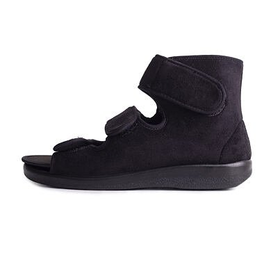 Medical open velcro shoes with ankle support -  Black