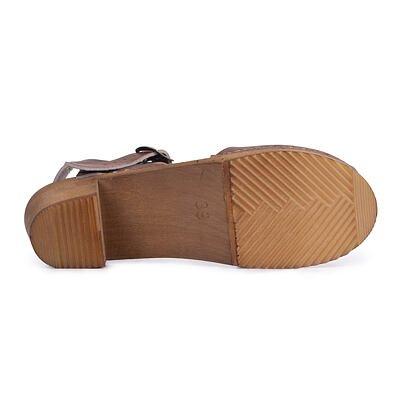 Women's high-heel clogs -  Brown