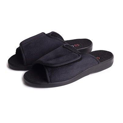 Men's velcro bandage slippers -  Black