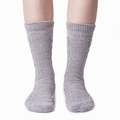 Traditional Merino white sheep socks - gray