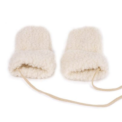 Kid's wool mittens with string - Natural