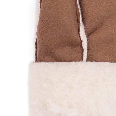 Wool velour mittens -  Brown