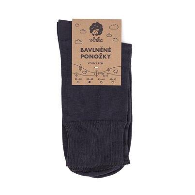 Cotton socks with loose hem -  Dark gray
